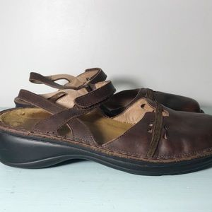 NAOT Dark Brown Strappy Mary Jane Comfort. Size 38